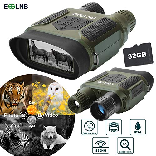 "ESSLNB Night Vision Binoculars 400m/1300ft for 100% Darkness 7x31 mm Night Vision Goggles with 32G TF Card and Photos Videos Recorder Function 2"" LCD Infrared Binoculars with Night Vision"