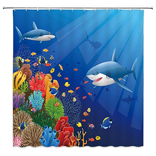 MNSC Underwater World Shower Curtain Ocean Shark Marine Life Sea World Animals Tropical Fish Dolphin Coral Kids Hawaiian Sunshine Waves Decor Fabric Bathroom Curtain 71x71IN with Hooks,Blue