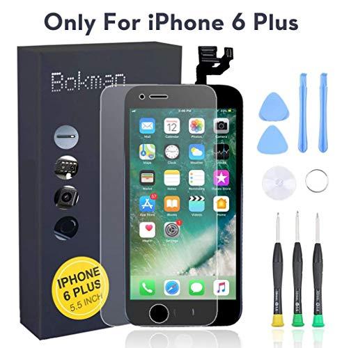bokman für iPhone 6 Plus Schwarz Komplettes Display Ersatzbildschirm LCD Glas Touchscreen Vormontiert mit Home Button, Frontkamera und Hörmuschel