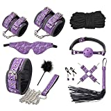 WGFW Plush Bondage Set Sexy Toy Suit 10-Piece Leather SM Kit Special Set De Encuadernación En Especial para Sexy Fun Sex Stimulation para Parejaspurple