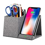 COSOOS Fast Wireless Charger with Desk Organizer, Desk Phone Charger Compatible with 12/12 Pro/12 Pro Max/12 Mini/SE /11/11 Pro Max/XS, Galaxy S20/S20+/S10/Note 10/Note 9/(No AC Adapter)