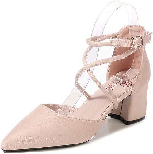 Talons épais Pointus avec des Talons Hauts Croisés avec des Chaussures Simples Sandales pour Femmes
