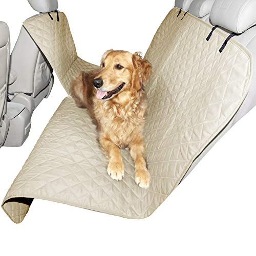 Furhaven Pet Furniture Cover - Universal Adjustable Water-Resistant Hammock-Style Quilted Backseat Cover Protector for Dogs and Cats, Clay, Hammock Seat