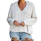 Amlaiworld Suéter para Mujer Jersey de Invierno Blusa con Cuello en v Sexy Moda para Mujer Color Puro Tops Sudadera de Manga Larga Sudaderas con Capucha Lindas Jersey de Punto
