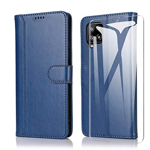 SMYTU Custodia per Samsung Galaxy A12 + Vetro Temperato,Cover a Libro Samsung Galaxy A12,Custodia Flip in Pelle Magnetica Portafoglio per Samsung Galaxy A12 (F-Blu)