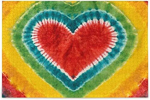 2000 Piezas De Juegos De Rompecabezas ,Patrón De Teñido Anudado con Logo En Forma De Corazón , Juegos Educativos para Niños Y Adultos, Interacción Entre Padres E Hijos