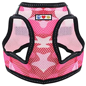 Pawtitas Pet Reflective Mesh Dog Harness,Step in or Vest Harness Dog Training Walking of YourPuppy/Dog – No More Pulling, Tugging, Choking M Neck 11″ Chest 17″, Pink Camouflage
