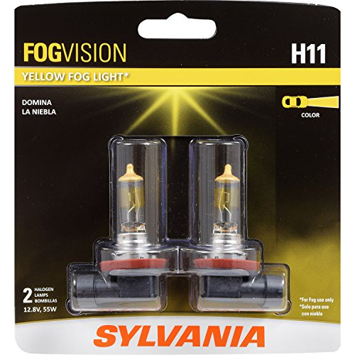 SYLVANIA - H11 Fog Vision - High Performance Yellow Halogen Fog Lights, Sleek Style & Improved Safety, Street Legal, For Fog Use Only (Contains 2 Bulbs)