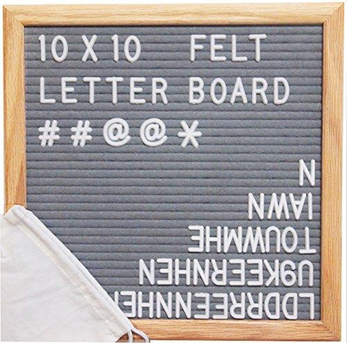 Gray Felt Letter Board 10x10 Inches. Changeable Letter Boards Include 300 White Plastic Letters w/ Oak Frame