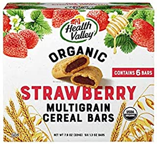 Health Valley Organic Multigrain Cereal Bars, Strawberry Cobbler, 6 count,net weight 7.9 ounce,(Pack of 6)