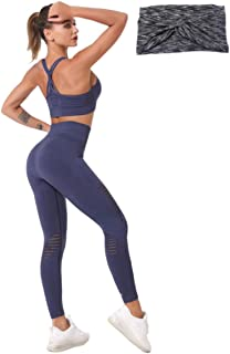 Yoga Pant Leggings Sports Bra Workout Running Gym Bodybuilding Outfit Headband Set