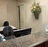 Sneeze Guard - Plastic Protection Barrier - Cashier, Checkout, Counter, Store, Desk (48'W x 24'H - Cutout 18'W x 6'H)