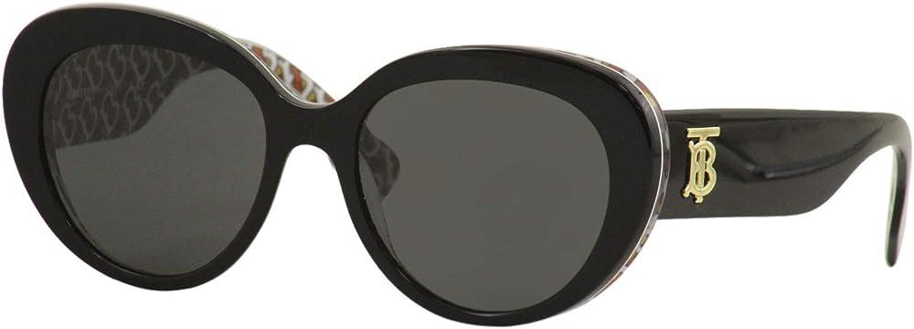 Burberry, occhiali da sole neri, occhiali da donna, lente di colore grigio BE4298 382287