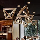 Nordic legno lampada a sospensione ristorante negozio di abbigliamento Café personalità creativa triangolo Rovere Vintage lampadario elegante semplice lampada a sospensione E27max 40W Ø37CM