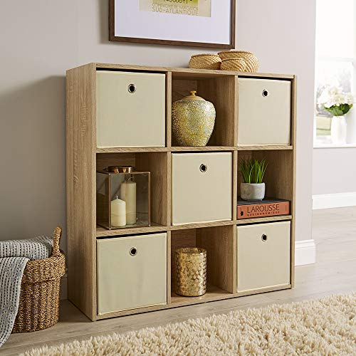 Home Source Storage Cube 9 Shelf Bookcase Wooden Display Unit Organiser Sonoma Oak Furniture