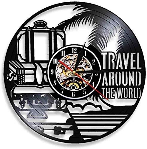 Reloj de Pared de Vinilo Árbol de Coco Reloj de Pared mecánico con Registro de Vinilo Ideas de Regalo Niños Niñas Amigos Adolescentes Diseño de Arte único Reloj de Pared de Vinilo 12 Pulgadas