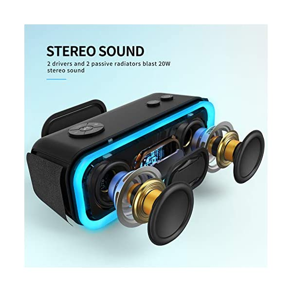 Portable Wireless Bluetooth Speaker with 20W Stereo Sound, Active Extra Bass, Wireless Stereo Paring, Multiple Colors Lights, Waterproof IPX5, 10 Hrs Battery Life 4