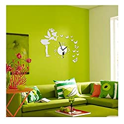 3D Wall Clock Mirror Stickers Modern DIY Butterfly Fairy Style Wall Decal Art Home Decors (Silver, Fairy)