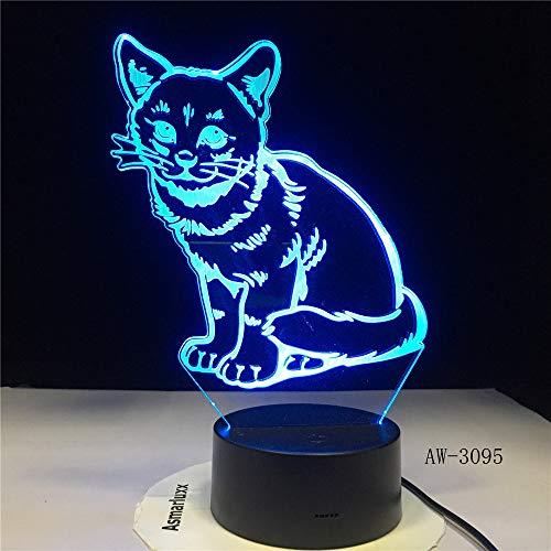 Alarma de gato con 7 colores de luz para textiles domésticos, lámpara de impresionante visualización de ilusión de regalo, luz nocturna LED 3D