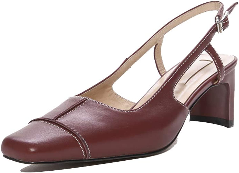 FLYA Sandalen weiblich Retro Weinrot in dick mit quadratischen Kopf Mode High Heels,rot wine-36EU