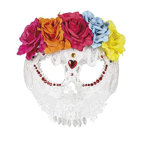 Boland 72216 - Mezzo Maschera Catrina Deluxe, Colore: Bianco