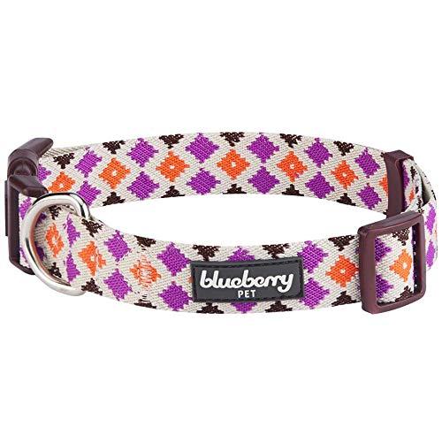 Blueberry Pet Ethno Muster Inspiriertes Bunte Rauten Designer Hundehalsband, M, Hals 37cm-50cm, Verstellbare Halsbänder für Hunde