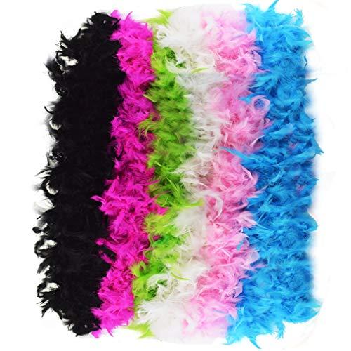 Jerbro 6 Pezzi Boa di Piume Piuma Colorata Morbida per Donna Ragazza Festa Glamour Costume Party Compleanno Carnevale Addio al Nubilato - 2 Metri