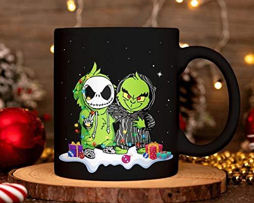 Jack Skellington and Grinch Mug Funny Tim Burton Sally Ceramic Coffee Mug Xmas Nightmare Before Christmas Mug