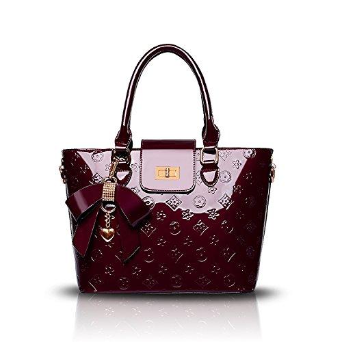 Tisdaini Women's Handbags Fashion Designer Patent Leather Casual Cross-Body Top-Handle Shoulder
