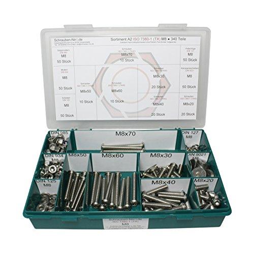Sortiment M8 ISO 7380-1 Edelstahl A2 (V2A) Flachrundkopfschrauben Innensechsrund (Torx) - Set bestehend aus Schrauben, Unterlegscheiben (DIN 125, 127, 9021) und Muttern (DIN 934, 985) - 340 Teile