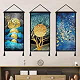 3 Pcs Hanging Poster Nordic Style Abstract Wall Decor, Contemporary Canvas Artwork Indoor Decoration for Home Dorm Office Bar with Hanging Kit 18X36 Inch