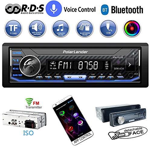 PolarLander - Radio estéreo para coche con Bluetooth, 1 Din, Bluetooth, control de voz y llamadas manos libres, panel frontal desmontable, RDS, MP3, USB, entrada AUX, receptor AM/FM, luz de fondo a todo color