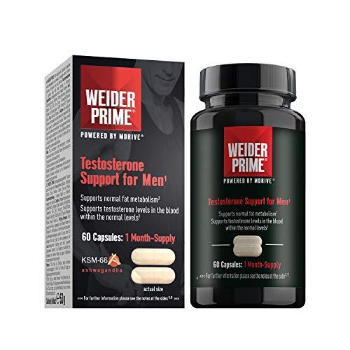 Weider Prime 60 Cáps. Potencia la producción natural de testosterona. Extracto de Ashwagandha, Cordyceps y Colina