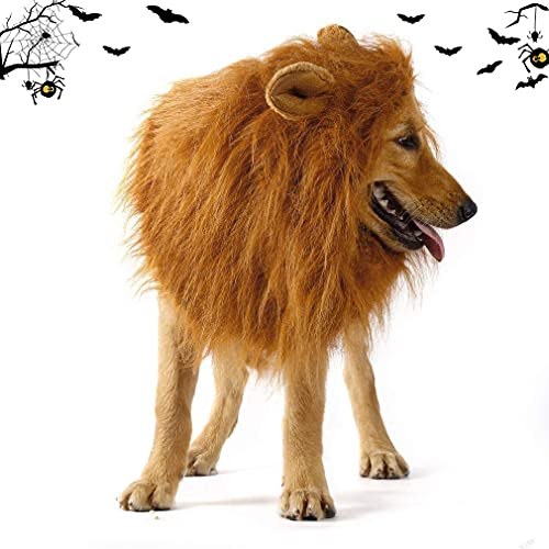Dog Lion Mane Wig-Light Brown Adjustable Comfortable Funny Wig with Ears for Dog Costume Pet Fancy Hair Clothes Dress for Halloween and Christmas Party