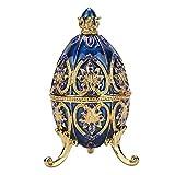 HEEPDD Chapado en Oro Diamante Artificial Huevo de Pascua Pintado a Mano Esmaltado Huevo Faberge Joyero para Collar Pulsera Baratija Inicio Decoración de Escritorio Regalos