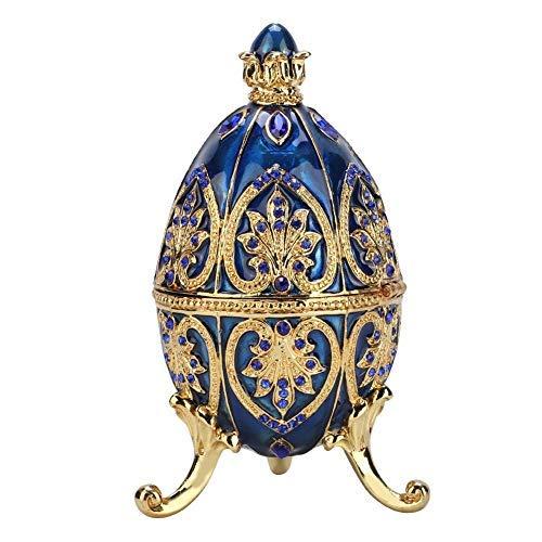 HEEPDD Gold überzogene künstliche Diamant Osterei handgemalte emaillierte Faberge Ei Schmuckschatulle für Halsketten Armband Schmuck Stück Ausgangsdesktop Dekor Geschenke