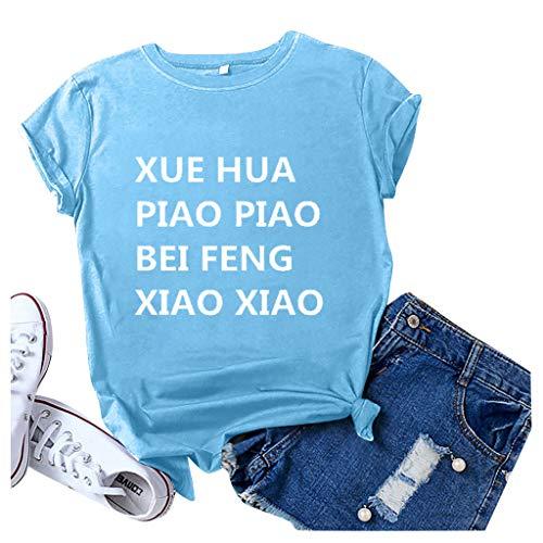 Affordable Nihewoo Women Tshirts Summer Tops Tee XUE Hua PIAO PIAO BEI FENG XIAO XIAO T Shirts Blouse Short Sleeve Shirts Sky Blue