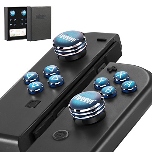 Epindon Joy-Con Analog Caps, Nintendo Switch Thumb Grips with ABXY Direction Action Buttons Cover - Navy Blue