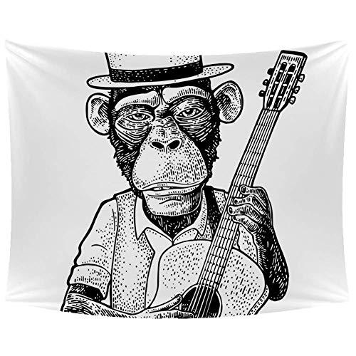 TIZORAX aap met hoed vasthouden gitaar wandtapijten muur opknoping huisdecoratie tapijt muur kunst voor woonkamer slaapkamer 90 X 60 inch