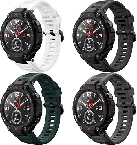 Simpleas Bandas de Repuesto Compatible con Amazfit T-Rex, Reloj Correa de Silicona Suave Correas Pulseras Correa Deportiva Pulsera (4PCS H)