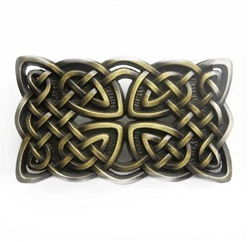 Irish Celtic Cross and Knot Belt Buckle Bronze