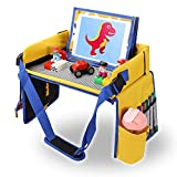 Kids Travel Tray with Brick Baseplate, Toddler Car Seat Lap Tray, Dry Erase Board & Snacks Table in...