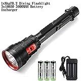 CZX Neue Ultra Bright Wasser wasserdichte Tauchens-Taschenlampe 100 Watt 4XHP70.2 LED-Taschenlampe...
