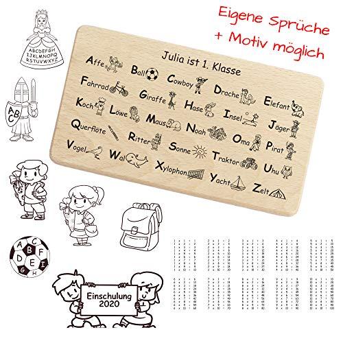 Einmaleins Brettchen für Mädchen und Jungen zur Einschulung, personalisiert mit Namen, Spruch, Motiv - zum Schulanfang für Kinder, Geschenk zum Kindertag, 1x1 Lernen