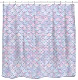 3D Mermaid Scales Shower Curtain Lilac Purple Pink Blue Ocean Theme Bathroom for Girls Bedroom Wall Decortation as Tapestry and Photo Booth Backdrop