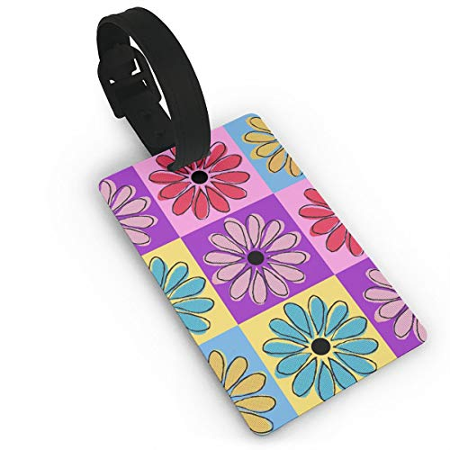RZM YLY Clipart Flower Luggage Tag Travel Bag Suitcase Labels W/Privacy Cover Tags Travel ID Label for Bag with Strap