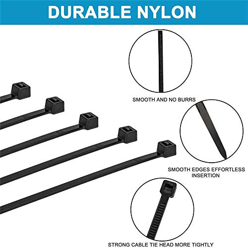 Hmrope 100pcs Cable Zip Ties Heavy Duty 8 Inch, Premium Plastic Wire Ties with 50 Pounds Tensile Strength, Self-Locking Black Nylon Tie Wraps for Indoor and Outdoor