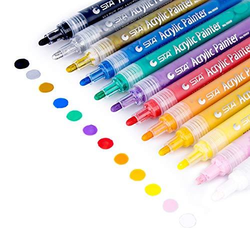 Morfone Acrylstifte Marker Stifte, Set mit 12 Farben Acrylfarben Marker auf Wasserfest für Felsmalerei, Leinwand, Fotoalbum, Heimwerken, Schulprojekt, Glas, Keramik, Holz, Metall (MEDIUM TIPP)