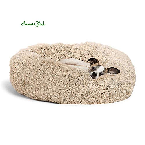 ImmerGlück® Kuscheliges Hundebett Katzenbett Luxury Haustierbett flauschig rund waschbar orthopädisch komfortabel weich gemütlich