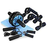TOMSHOO 5 Pieces Fitness Exercise Set - Hand Gripper Jump Rope AB Roller Push-Up Bar Knee Pad Perfect Daily Home Ab <span class='highlight'>Workout</span> <span class='highlight'>Equipment</span> Set